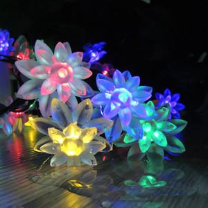 Yanıp sönen LED Güneş 30 LED'ler Güzel Lotus LED Dize Işık Yeraltı Çim Lambası Bahçe Parkı Veranda Açık Dekorasyon Aydınlatma