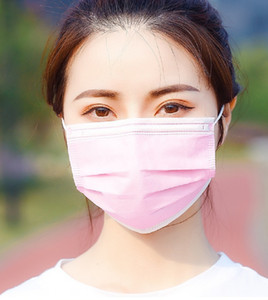 Togev Cover Outdoor Band Mask Free Color Ear DHL Non-woven 3Ply Masks Mask With Elastic Protective Mouth Pink Shipping! Disposable Fa Xuwmg