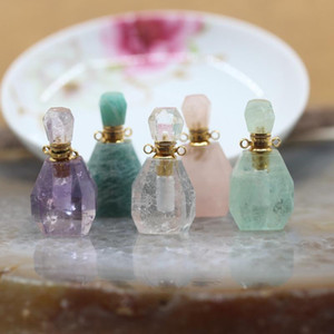 Natural Gems Stone Perfume Bottle Pendants,Amethysts Fluorite Crystal Quartz Essential Oil Diffuser for Necklace Charms Jewelry
