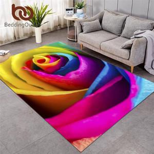 BeddingOutlet Bunte Rose Große Teppiche für Wohnzimmer 3D-Druck Kinderspielboden-Matten-Fotografie Bereich Teppich 91x152 Blumen-Tapete