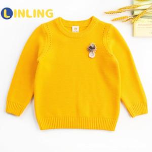 Kış Örme dibe P386'nin için gündelik Sonbahar Katı Pembe Sarı Kız O-boyun kazak Triko Çocuk Süveterler'i linling
