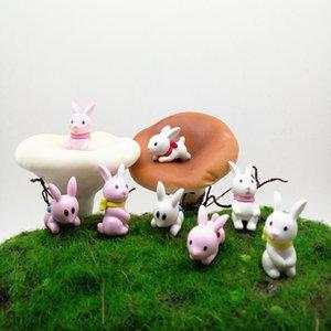 4pcs sveglio del coniglio Mini animali in miniatura Fairy Garden Home Decoration Craft Micro paesaggistica Decor Accessori fai da te