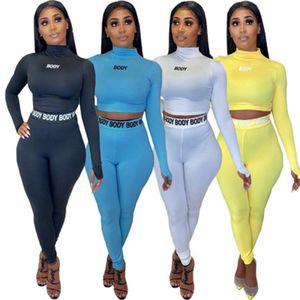 Женщины Solid Color 2 Piece Set Tracksuit O шея длинного рукав Футболка Crop Top комбинированной Брюки Мода Женская Одежда наборы S-XXL