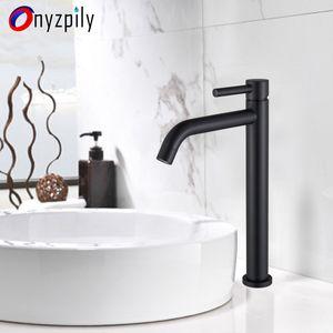 Onyzpily grifo del lavabo del grifo del fregadero Blanco Negro cubierta montada Mezclar agua caliente y fría grifos torneira Banheiro