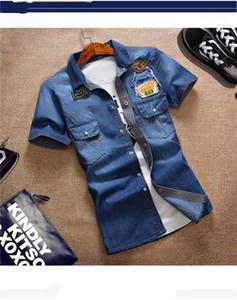 Bouton à manches courtes T-Skinny Slim Mens T-shirts d'été Lavé Bleu Mens Designer Denim T-shirts avec lettre de poche Imprimé Lapel Neck