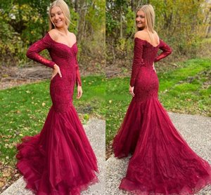 Elegant Lace Mermaid Evening Dresses Sexy Off Shoulder Long Sleeves Sweep Train Applique Formal Mother Dress Prom Dresses Party Gowns