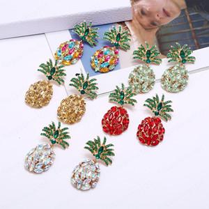 Elegant Multi Color Crystal Pineapple Shape Dangle Earrings Fruit Design Statement Earrings for Woman Girls Party Jewelry