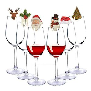 10pcs lot Christmas Decorations Hats For Champagne Glass Cup Wooden Red Wine Glass Card Santa Claus Xmas Elk Decoration DHL Free EWA1440