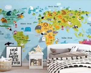 Nordic Moderne Frisches Cartoon Animal World Childrens-Raum-Hintergrund Wandgemälde-Wand-Papiere Home Decor 3D Wallpaper Desktop-Backgroun DBDs #