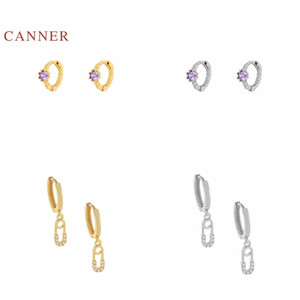 CANNER Real 925 Sterling Silver Earrings For Women Purple Mini Fashion Diamond Brooch Earrings Hoops Zircon Jewelry Pendientes