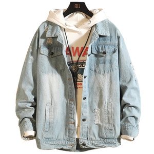 Herbst-Winter-Herren Jean-Jacke Art und Weise gewaschene Jeans Jeansjacke Ripped-Qualitäts-freie shippin # 9035
