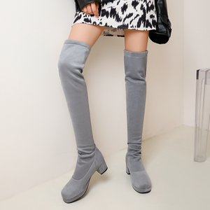 2021 Fashion Stretch Fabric Sock Boots Round head Over-the-Knee Heel Thigh High Round head Woman Boot size 34-43