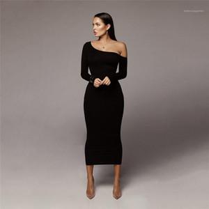 Ufficio Abiti solido sexy di colore donne del vestito della signora Long Sleeve Abbigliamento Moda Femminile casuale Breve aderente