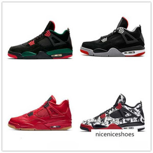 Best selling bred 4 4s jumpman men basketball cool grey white cement green grow Cavs tatoo thunder mens stylist shoes 40-47