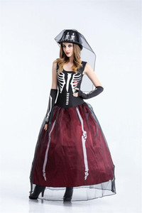 Dress The Skeleton Bride Theme Costume Designer Womens Cosplay Sleeveless Dress Halloween Day Funny Dress Party