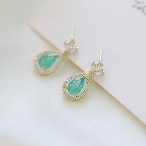 Korean fashion luxury S925 silver needle crown drop zircon earrings temperament women 18k gold plated high quality earrings jewelry gift