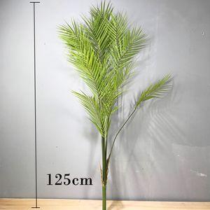 125cm 13 Forks Grande Palma tropicale piante finte foglie di palma di plastica Monstera piante verdi foglie per la decorazione domestica Wedding Party