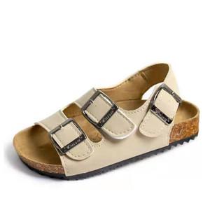 Ortoluckland zapatos casuales zapatos de bebé del verano de los muchachos de cuero de la PU de los niños de corcho sandalias de playa para niños Confort sandalias de niñas escolares