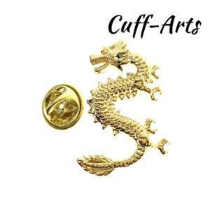 Cuffarts Lapel Pin Gold Lucky Dragon Lapel Pin Pride Men Accessories Brooch Hijab Pins Enamel Broche P10075