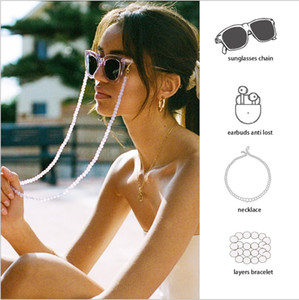 Straps Beads Transparent Women Sunglasses Mask Accessories Multifunction Chain Headset Glasses Lanyard Anti-Lost Hold Tetbj