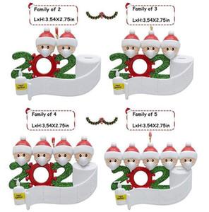 2020 quarantaine Décoration de Noël Anniversaires Jouets cadeau Hanging ornement avec des masques de visage survivant de la famille 2 3 4 5 6 7 Fy4256