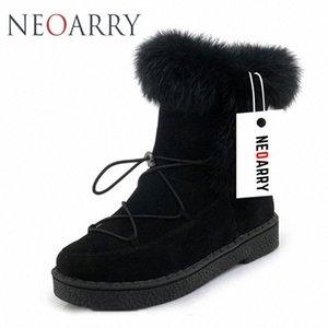 Neoarry invierno botas para mujer de la nieve botas de encaje de Calentamiento piel de la manera del tobillo de los botines de tacón bajo Rusia Calzado de las señoras del tamaño grande LT70 syiO #