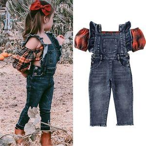 Fashion 2Pcs Kids Baby Girl Cloth Balloon Sleeve Vest Plaid Crop Top Denim Suspender Pants Outfit Costume