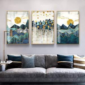 Landscape Canvas Painting on The Wall Art Canvas Prints Wall Art Abstract Sunrise Mountain Pictures for Living Room Home Decor