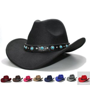Retro Women Men 100% Wool Wide Brim Cowboy Western Cowgirl Bowler Hat Fedora Cap Turquoise Bead Vintage Leather Band 57cm Adjust