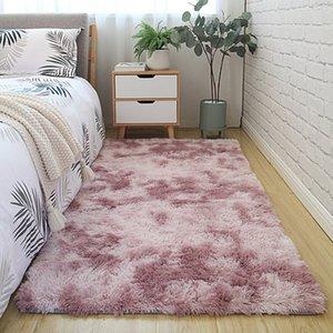 Yatak odası halı tie-boyalı yumuşak kabarık uzun tüylü polyester salon merkezi halı bellek köpük kaymaz paspas