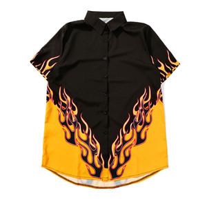 Личи Harajuku Пламя печати Женщины блузка рубашка Turn Down Воротник Женщины рубашки цвета Блок дряблая Летняя блузка