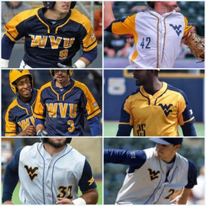 West Virginia Mountaineers Darius Hill Baseball Stitched Jersey Homens Juventude Tyler Doanes Ivan Gonzalez Marques Inman Kids WVU Jerseys