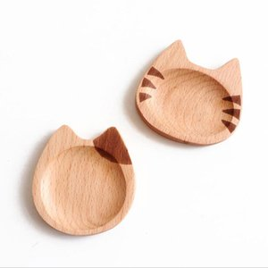 Eco-friendly Cat Japanese-style Dish Beech Cartoon Sauce Dish Creative Small Wooden Plate Dinner Plate Western Food Round Dessert Tray