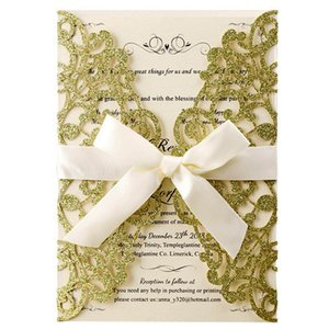 Greeting Cards (100 Pieces lot) Laser Cut Glittery Gold Wedding Engagement Invitations Customize Print Baptism Birthday Invitation Card IC12