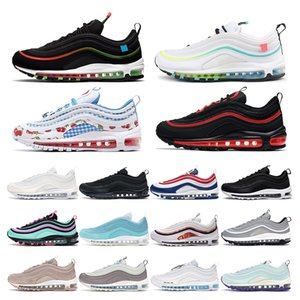 air max 97   shoes Mens women Running Shoes Negro Rojo Blanco Trainer Cojín Superficie Respirable Deportes zapatillas de deporte tamaño 36-45