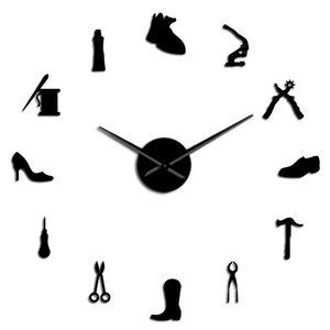 Shoe relógio relógio loja gigante Diy Shoe Archer parede sapatos Wall Wall Shoemaker presente Frameless Home Decor Cobbler Grande Repair Art ntpAS wrhome