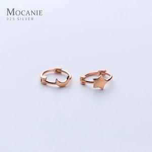 Mocanie Genuine 925 Sterling Silver Minimalist Cute Star Moon Asymmetry Anti-Allergy Hoop Earring for Women Fine Jewelry Bijoux