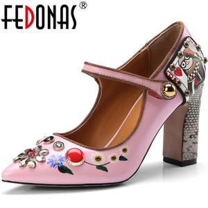 Fedonas Mode Mary Janes Frauen Sandalen mit Kristall Schönen Absatz-Pumpen-Frauen-Sommer-Herbst-Party Sexy Schuh-Frau
