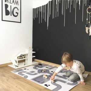 Baby Hopscotch Game Mat Kids Activity Play Gym Mats Cartoon Infant Adventure Rug Road Carpet Crawling Rugs for Children Rooms