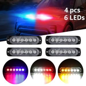 4 unids / set LED Luz de advertencia Luz blanca / roja / azul / Amarillo Grille Luz intermitente 6 LED Auto Strobe para niebla / Lámpara de emergencia lluviosa