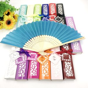 50PCS Customized Wedding Favors Bamboo Foldable Fan Personalized Printing Text Silk Hand Folding Fan in Gift Box FREE SHIPPING