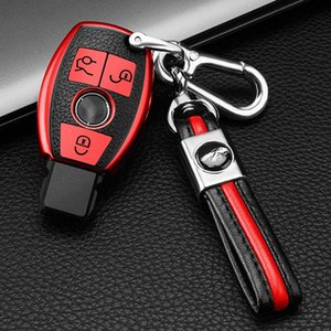 Leather Key Fob Cover Key ring Smart Remote Control Holder Jacket Case Full Protection for Mercedes-Benz A C E S Class GLK CLA GLA 3-Button