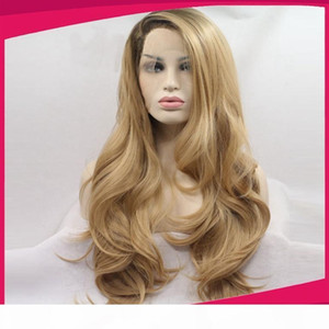 Fashion Long Wave Blonde Ombre Wig Synthetic Lace Front Wigs Heat Resistant Black Blonde Two Tone Hair 1BT27# For Women
