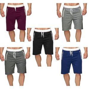 Men Summer Quick Dry Beach Board Shorts Solid Color Drawstring Elastic Waist Trunks Sports Pants Zipper Pockets