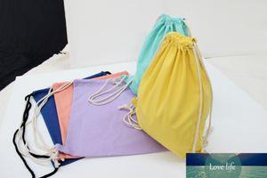 10pcs lot New Arrival Candy blank DIY Women Backpack cotton Canvas Drawstring Bag storage bag shoe case Outdoor 34.5*41cm