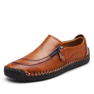 Zeguuer Marca Homens Vintage Casual sapatos de couro retro Zipper Masculino Lazer Loafers Moda Plus-size Homens Calçado