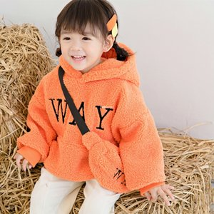 Winter Children Fleece Sweatshirt Baby Kids Letter Embroidered Long sleeve hoodies with Bags Boys Girls Thicken Warm Casual Jumper A4065