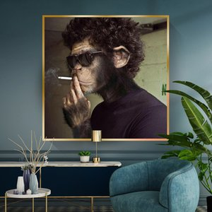 Smoking Sunglasses Monkey Funny Animal Canvas Painting African Wall Art Posters Print Cuadros Wall Art for Living Room Home Decor