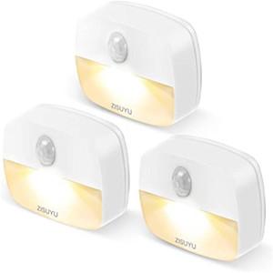 Détecteur de mouvement à piles intérieur lumières LED de nuit avec lampe de nuit collante détecteur de mouvement nuit lumière lampe murale Convient pour placard,