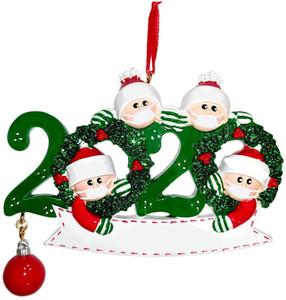 Ornamento das decorações do Natal do boneco de neve de madeira do Natal pendurado árvore pingente Xmas Tree Papai Noel Pendent com máscara família de 2-5 GGA3735-2